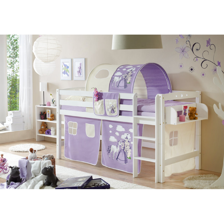 ticaa hochbett timmy r buche massiv wei horse lila beige. Black Bedroom Furniture Sets. Home Design Ideas
