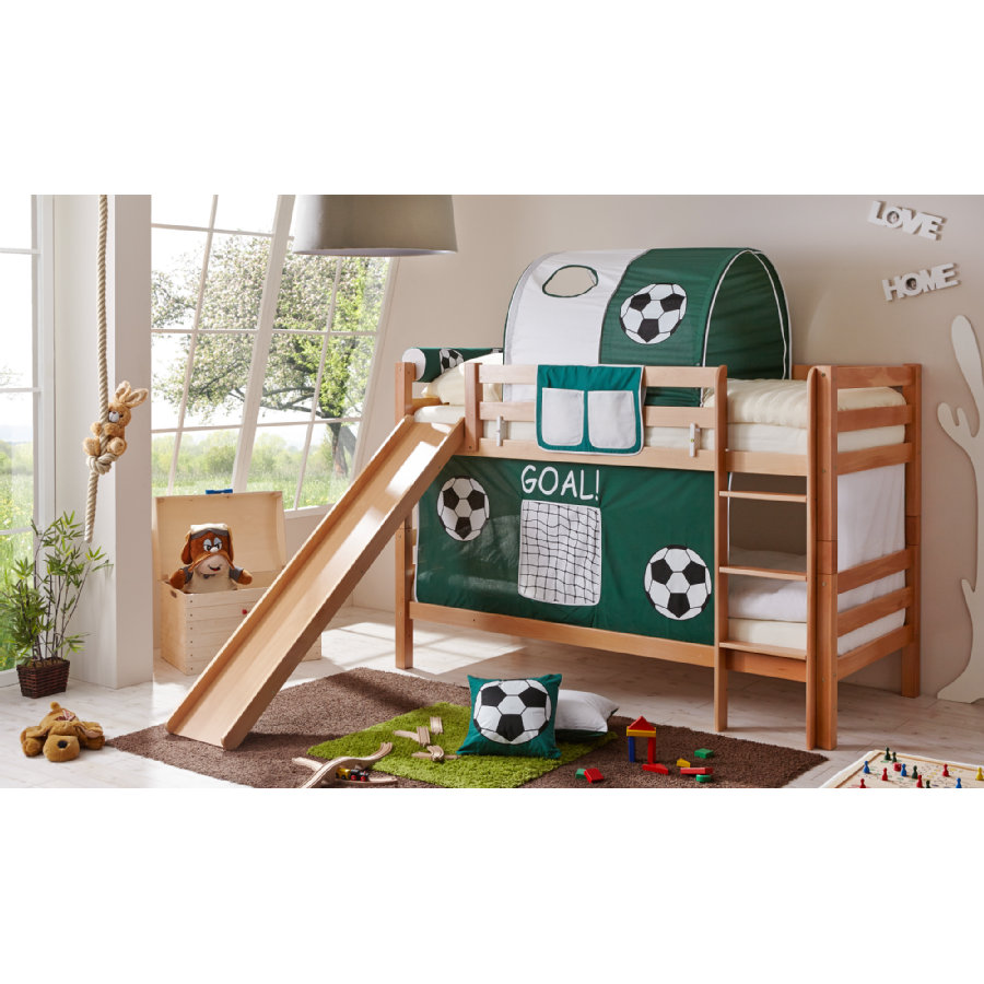 ticaa etagenbett mit rutsche lupo natur goal shop mom. Black Bedroom Furniture Sets. Home Design Ideas