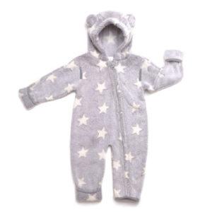 Hoppediz Fleece-Overall grau-creme mit Sternen - Mädchen