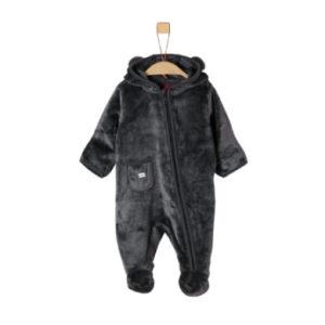 s.Oliver Boys Plüsch-Overall dark grey - grau - Gr.Newborn (0 - 6 Monate) - Jungen