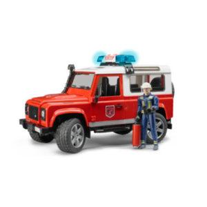 bruder ® Land Rover Defender Station Wagon Feuerwehreinsatzwagen mit Feuerwehrmann 02596