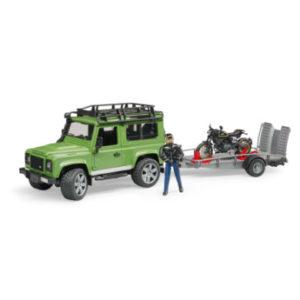 bruder ® Land Rover Defender Station Wagon mit Anhänger und Fahrer 02598 - bunt