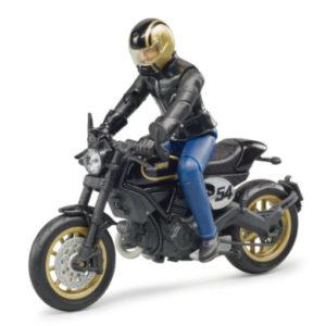 bruder ® Scrambler Ducati Cafe Racer mit Fahrer 63050 - schwarz