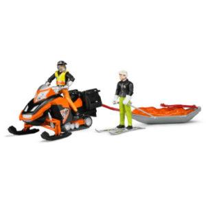 bruder ® Snowmobil mit Fahrer und Akia Rettungsschlitten 63100
