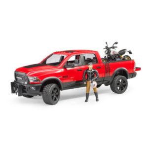 bruder ® RAM 2500 Power Wagon mit Scrambler Ducati Desert Sled und Fahrer 02502 - gelb