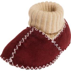 Playshoes Babyschuh Lammfelloptik Strickbund bordeaux - rot - Gr.16/17 - Unisex