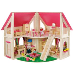 howa ® Puppenhaus klappbar inklusive Zubehör - rosa/pink