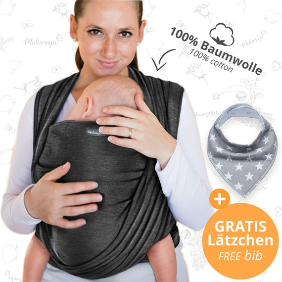 Babytragetuch Dunkelgrau Makimaja hochwertiges BabyTragetuch aus 100% Baumwolle, Baby Tragetuch, Baby Geschenk, gratis Versand nach DE