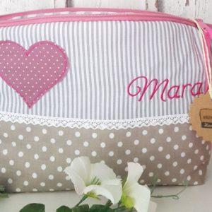Kulturbeutel rosa, Herzen Wickeltaschen mit Name