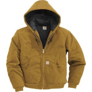 Carhartt Duck Active Jacket - Quilt-Lined, Black, Large Tall, Model J140