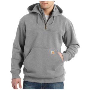 Carhartt Men's Rain Defender Paxton Heavyweight Hooded Zip Mock Sweats - Medium Regular - Heather Grey