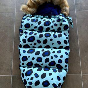 Universele voetenzak kinderwagen/buggy blauwe leopard print