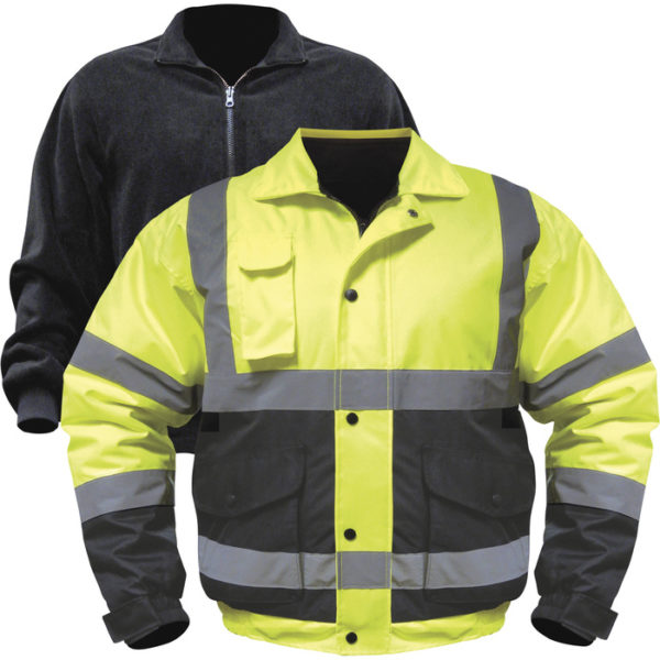 Utility Pro Men's Class 3 High Visibility 3-in-1 Bomber Jacket with Teflon Fabric Protector - Lime/Black, 3XL, Model UHV563