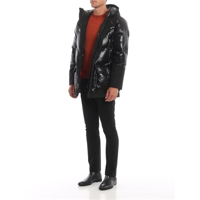Woolrich Black Glossy And Matte Logo Arctic Parka